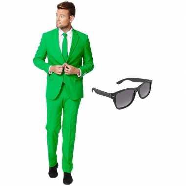 Groen heren carnavalskleding maat 54 (xxl) met gratis zonnebril
