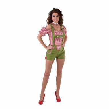 Groene lederhose kort broekje