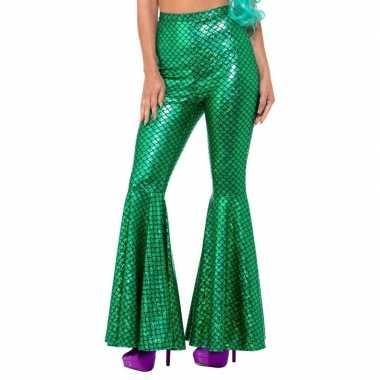 Groene zeemeermin broek met wijde pijpen