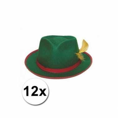 Groepsverpakking groene tiroler hoedjes 12x