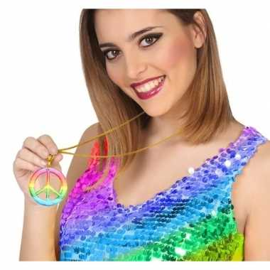 Grote gekleurde hippie ketting vredesteken