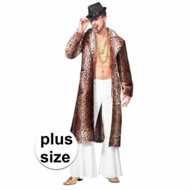 Grote maat bruine pimp/pooier verkleed jas voor heren