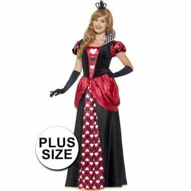 Grote maat feest hartenkoningin verkleedcarnavalskleding voor dames