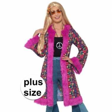 Grote maat hippie peace jas voor dames