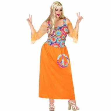 Grote maat oranje hippie/flower power verkleed jurk voor dames