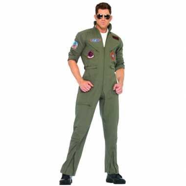 Grote maat piloten carnavalskledinglen in armygreen