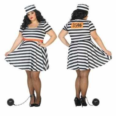 Grote maten gevangene/boef bonnie verkleed carnavalskleding voor dame