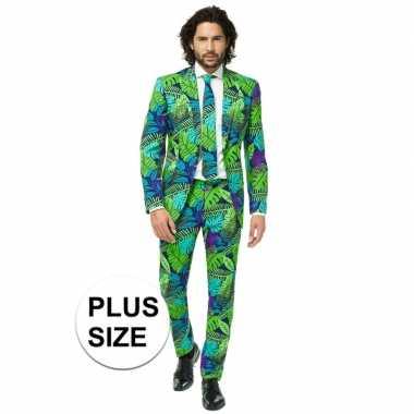 Grote maten heren verkleed pak/carnavalskleding jungle print