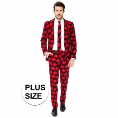 Grote maten heren verkleed pak/carnavalskleding rode hartjes print