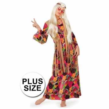 Grote maten lange sixties jurk flower power