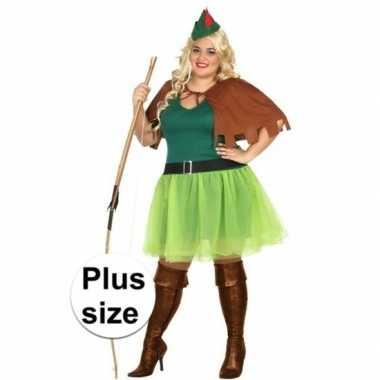 Grote maten robin hood carnavalskleding 4 delig voor dames