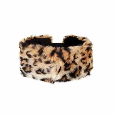 Haarband met pluche panter dieren print voor dames