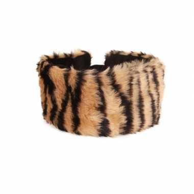 Haarband met pluche tijger dieren print voor dames