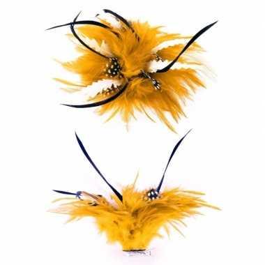 Haarbloem gouden en blauwe veertjes