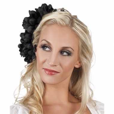 Haarbloem zwarte dahlia met clip