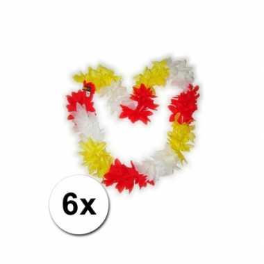 Hawaii kransen rood / wit / geel 6 st