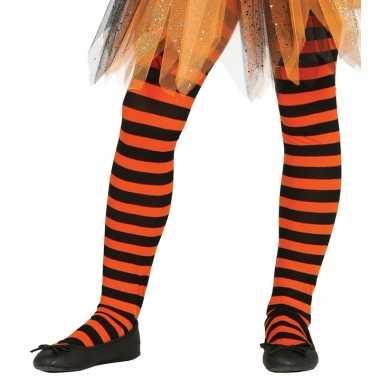 Heksen verkleedaccessoires panty maillot zwart/oranje voor meisj