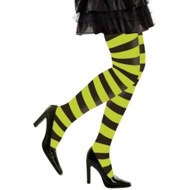 Heksen verkleedaccessoires panty zwart/groen voor dames maat m/l