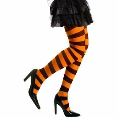 Heksen verkleedaccessoires panty zwart/oranje voor dames maat m/