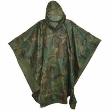 Herbruikbare camouflage regenponcho voor volwassenen one size