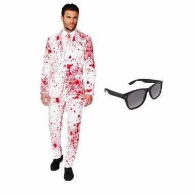 Heren carnavalskleding met bloed print maat 50 (l) met gratis zonnebr