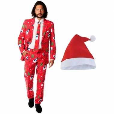 Heren opposuits kerst carnavalskleding rood met kerstmuts maat 50 (l)