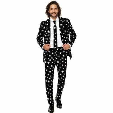 Heren verkleed pak/carnavalskleding zwart met sterren print