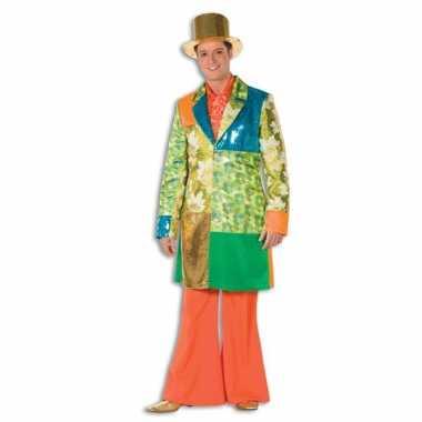Hippie broek oranje met wijde pijpen voor heren