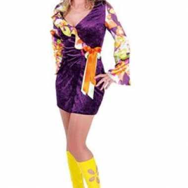Hippie jurk in paars met strik