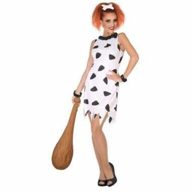 Holbewoonster/cavewoman wilma verkleed carnavalskleding/jurk voor dam