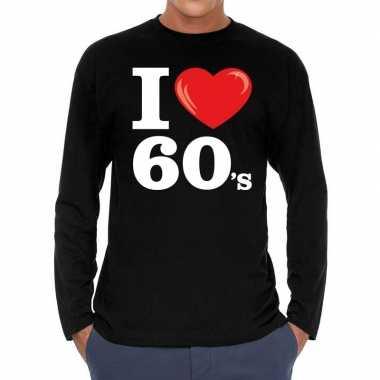 I love 60s / sixties long sleeve t shirt zwart heren