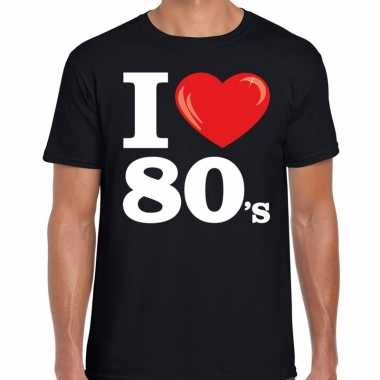 I love 80s / eighties t shirt zwart heren