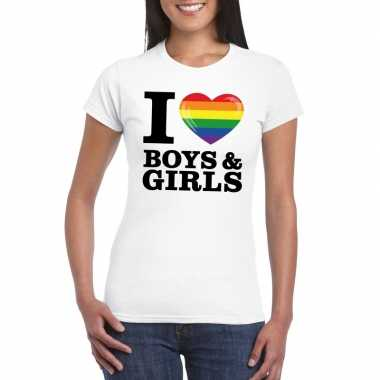 I love boys & girls regenboog t shirt wit dames
