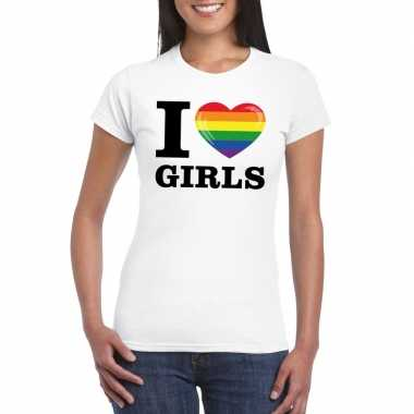 I love girls regenboog t shirt wit dames