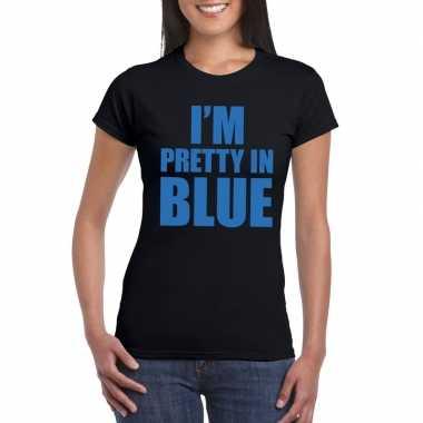 I'm pretty in blue t shirt zwart dames