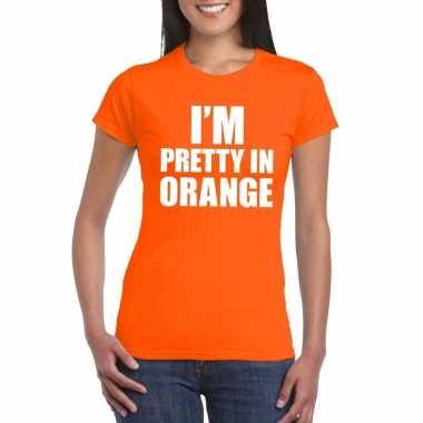 I'm pretty in orange t shirt oranje dames