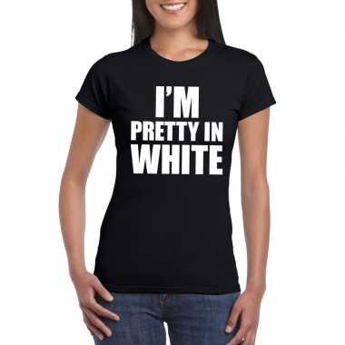 I'm pretty in white t shirt zwart dames