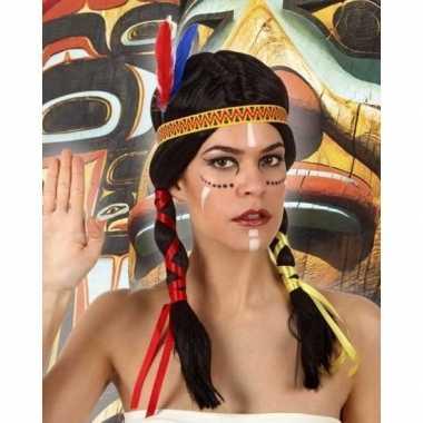 Indianen verkleed pruik met staarten voor dames