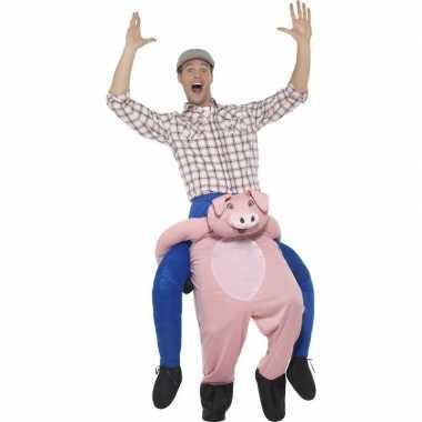Instap dierenpak carnavalskleding varken voor volwassenen