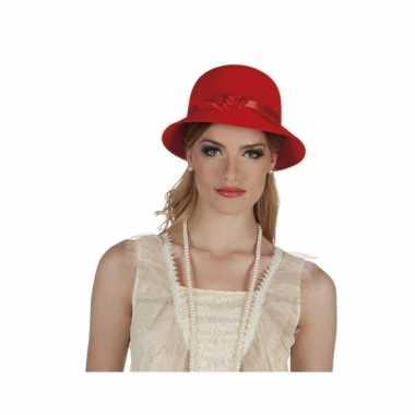 Jaren 20 hoedje rood met lint