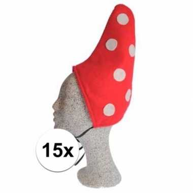 Kabouter muts rood met witte stip 15x