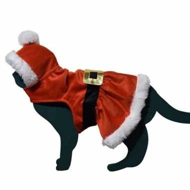 Kerstman pakje carnavalskleding voor kat/poes