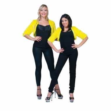 Kort geel pluche jasje voor dames