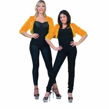 Kort oranje pluche jasje voor dames