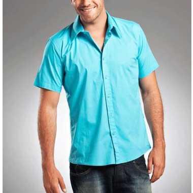 Lemon&soda overhemden voor heren turquoise