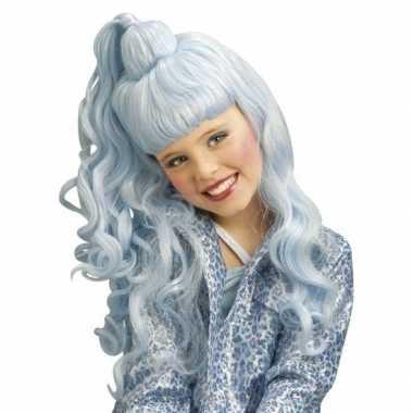 Lichtblauwe verkleed pruik met krullen voor kinderen