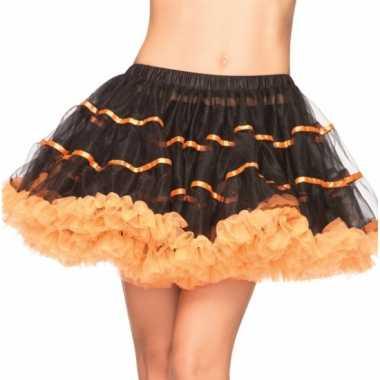 Luxe petticoat voor dames zwart met oranje