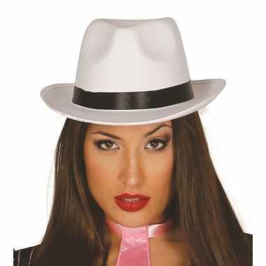 Luxe witte gangster/maffia trilby gleufhoed voor volwassenen