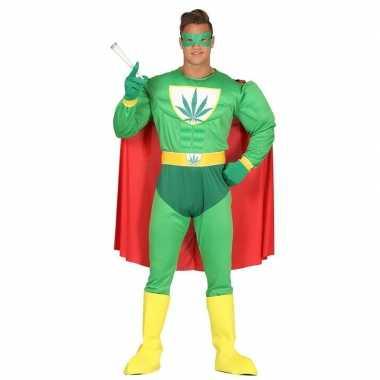Marihuana man superheld verkleed carnavalskleding voor heren