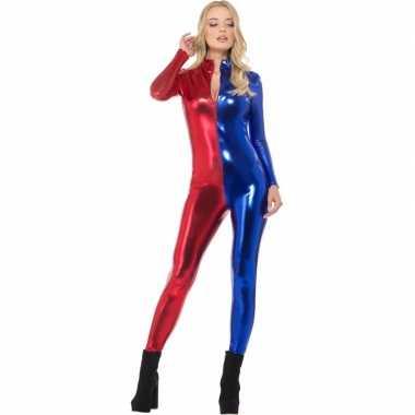 Metallic catsuit rood/blauw voor dames